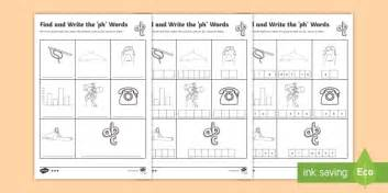 find and write the ph words differentiated worksheet