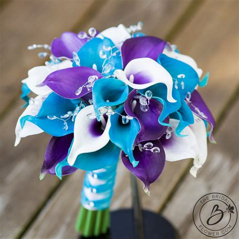 purple  turquoise calla lily wedding bouquet