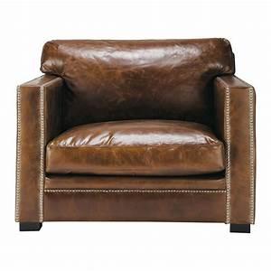 Fauteuil Cuir Marron Vintage : fauteuil en cuir marron dandy maisons du monde ~ Teatrodelosmanantiales.com Idées de Décoration