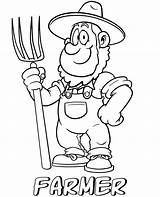 Farmer Coloring Printable Professions Farmers Cartoon Market Template sketch template