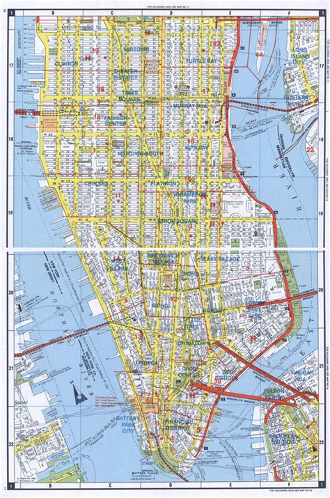 large detailed road map  south manhattan nyc vidiani