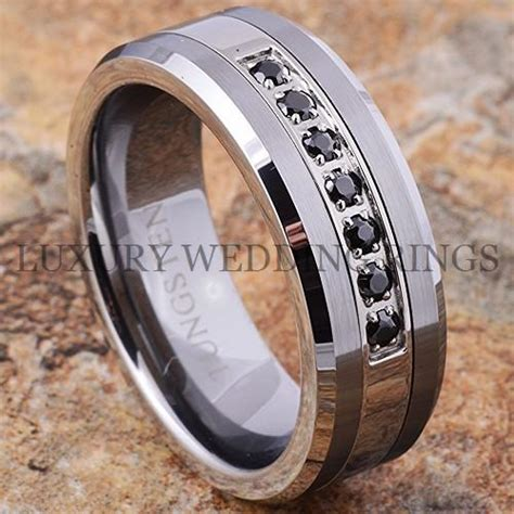 tungsten ring black diamonds mens wedding band brushed