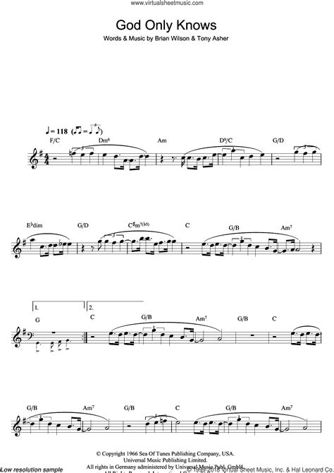 Boys God Only Knows Sheet Music For Flute Solo