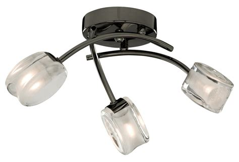 black nickel ceiling lighting fitting with stylish glass