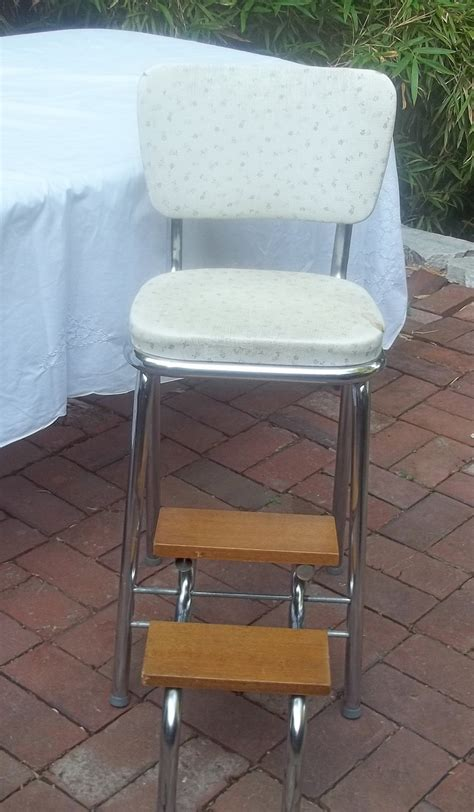 Vintage Shabby Kitchen Step Stool Chair Wood Steps Fold Up