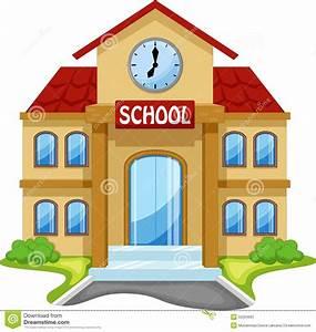 School Building Cartoon Stock Illustration  Image Of Lawn