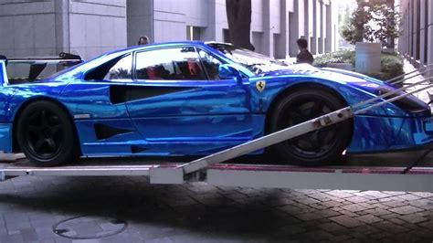 supercar ferrari  lm blue chrome wrapping special body