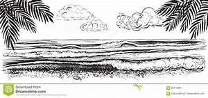 Sea Or Ocean Waves Drawing Cartoon Vector | CartoonDealer ...
