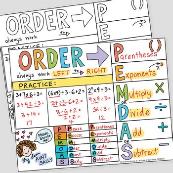 Order Of Operations Foldable (pemdas)  By Math Doodles Tpt