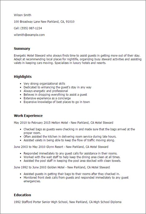 luxury hotel concierge resume professional hotel steward templates to showcase your talent myperfectresume