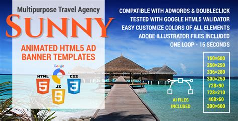 Sunny Multipurpose Travel Agency Html5 Ad Banner