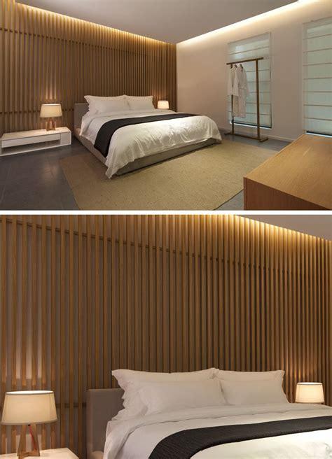 bedroom wall design idea create  wood slat accent wall