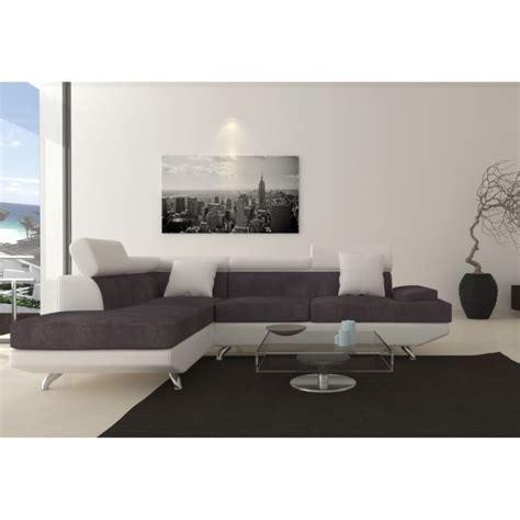 canape d angle blanc et gris scoop fixe canapé angle gauche 4 places simili et tissu