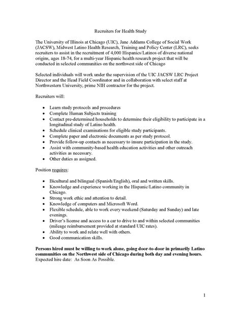 Recruiter Resumes Indeed by Hispanic Community Health Study Study Of Latinos May 2010