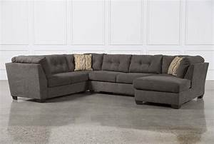 Delta city steel 3 piece sectional w raf chaise living for Large 3 piece sectional sofa