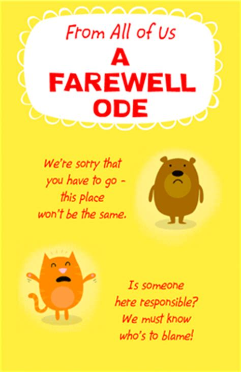 farewell ode greeting card good luck printable card