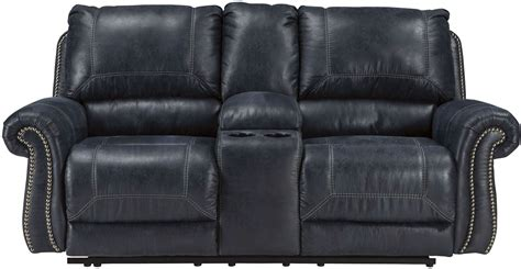 Coleman Loveseat by Milhaven Navy Reclining Console Loveseat From