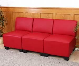 Sofa Schwarz Rot : modular 3 sitzer sofa couch lyon kunstleder ohne armlehnen creme schwarz rot ebay ~ Markanthonyermac.com Haus und Dekorationen