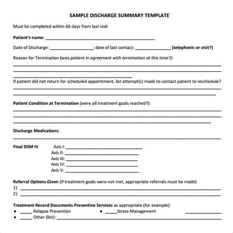 Discharge Summary Template Mental Health by 11 Discharge Summary Sles Sle Templates