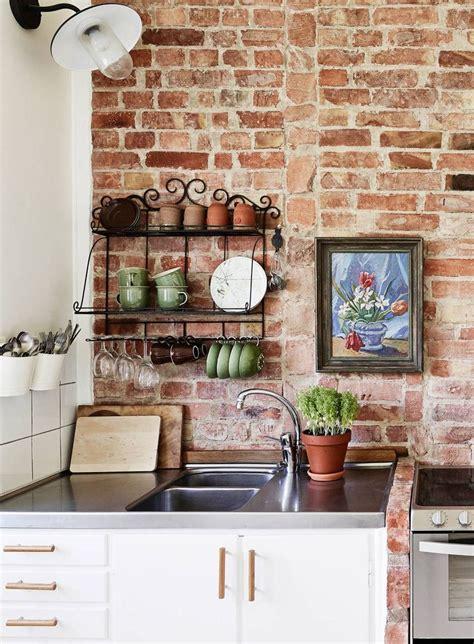 brick wallpaper kitchen ideas  pinterest