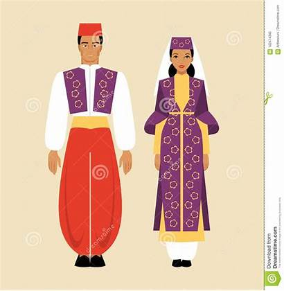 Traditional National Turkish Costume Vector Woman Clip