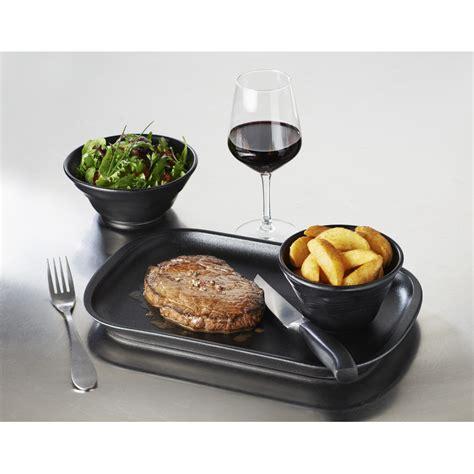 white porcelain rectangular steak plate