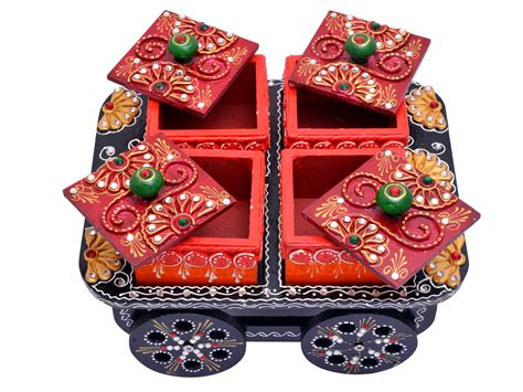 indian handicraft hand painted decorative wooden cart dry