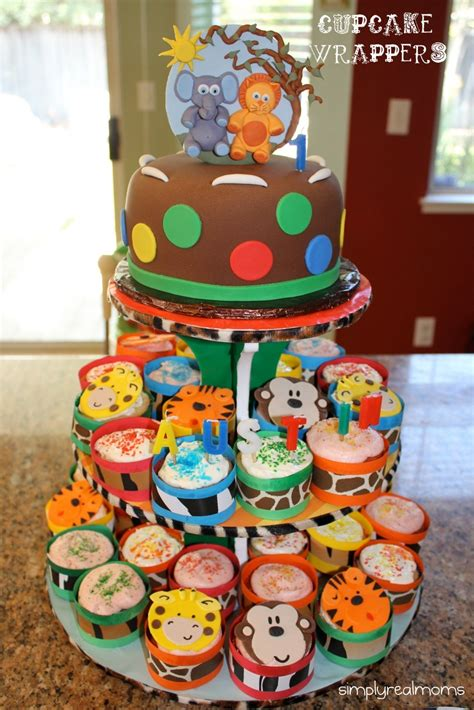 jungle themed party diy cupcake wrappers cupcake stand