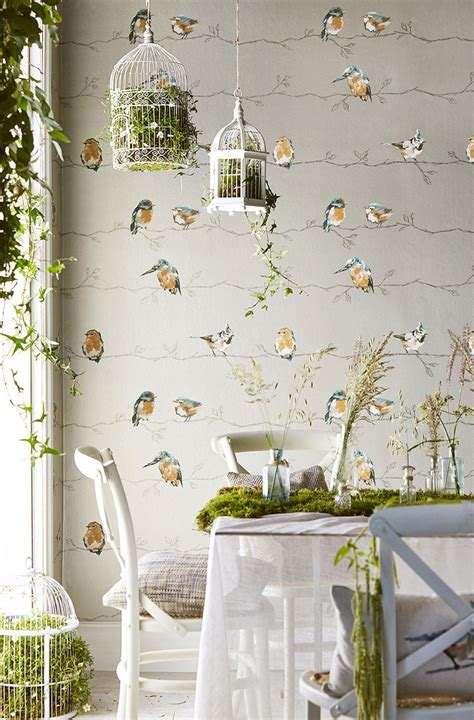 persico  harlequin tangerine duck egg wallpaper direct