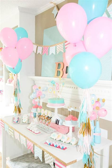gender reveal table ideas monogram birthday slumber party party on a dime 6