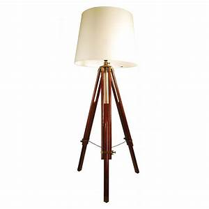 buy libra brown wooden tripod floor lamp from fusion With brass tripod floor lamp uk