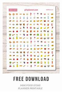 Free Printable: Mini Food Icon Planner Stickers - Girly