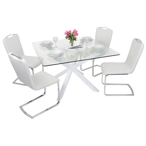 square white glass dining table set with four chairs