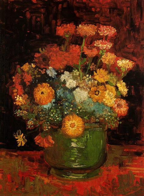 Vase With Poppies Vincent Gogh by Vase With Zinnias Vincent Gogh Wikiart Org