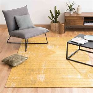feel cotton rug in mustard yellow 140 x 200cm maisons du With tapis shaggy avec canape convertible 140x200
