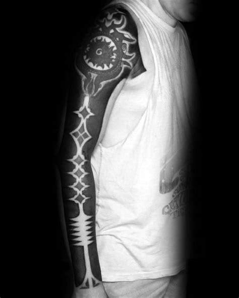 blackout tattoo sleeve designs  men solid black ink ideas