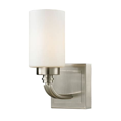 brushed nickel light switch modern led sconce wall light with white glass in brushed