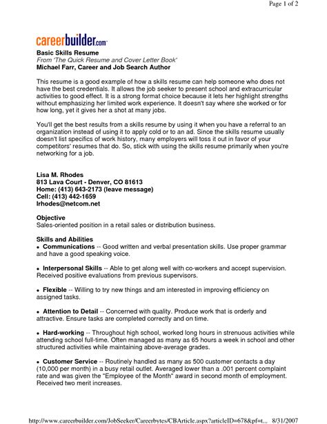 Key Skills Resume by Resume Exles Key Skills Exles Resume