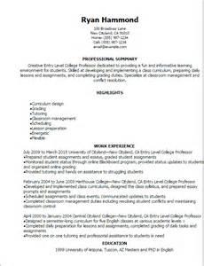 college instructor curriculum vitae professional entry level college professor resume