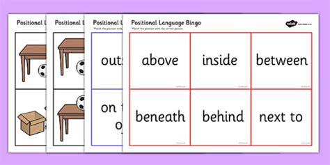 positional language bingo postion positional bingo game