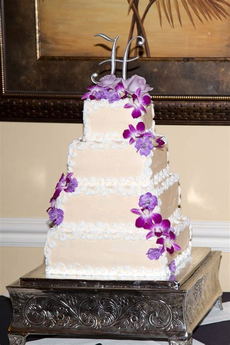 square wedding cake  purple orchids