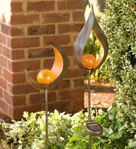 wind weather lighted metal solar garden stake ebay