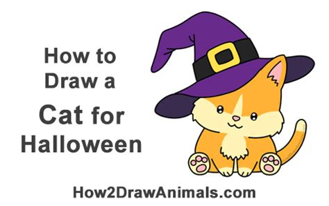 draw  cat wearing  witchs hat  halloween