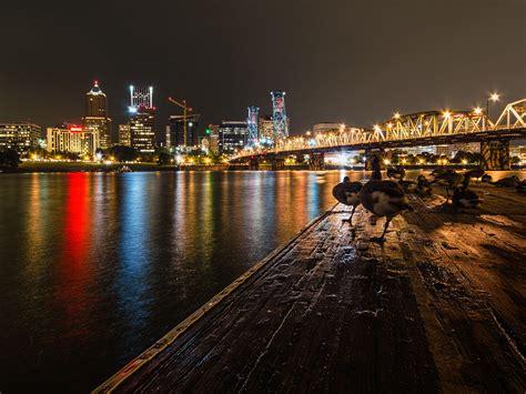 downtown portland  night city  oregon usa hd