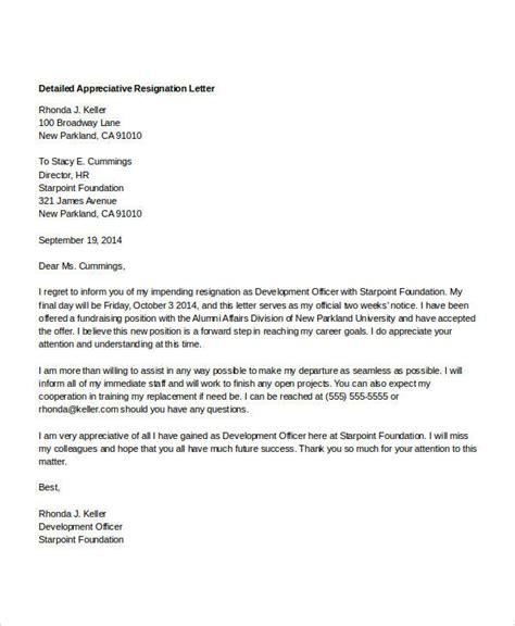 appreciative resignation letters  sample