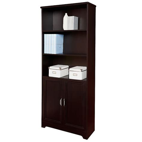 espresso bookcase with doors realspace magellan collection 5 shelf bookcase with doors