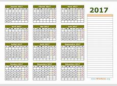 Calendrier 2017 à imprimer WikiDatesorg