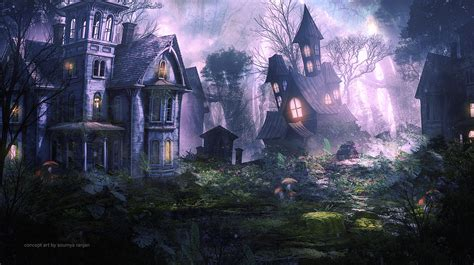 artstation fantasy haunted house soumya ranjan