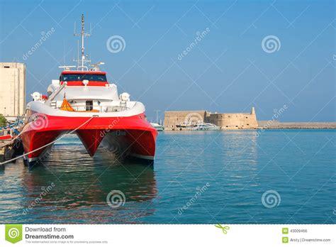 Greece Catamaran Ferry by Catamaran Ferry In Port Of Heraklion Crete Greece Stock