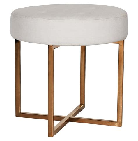 Stools And Ottomans - charlize regency white linen tufted gold stool